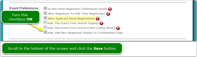 Turn on the Hide 'Add New Registrant' checkbox
