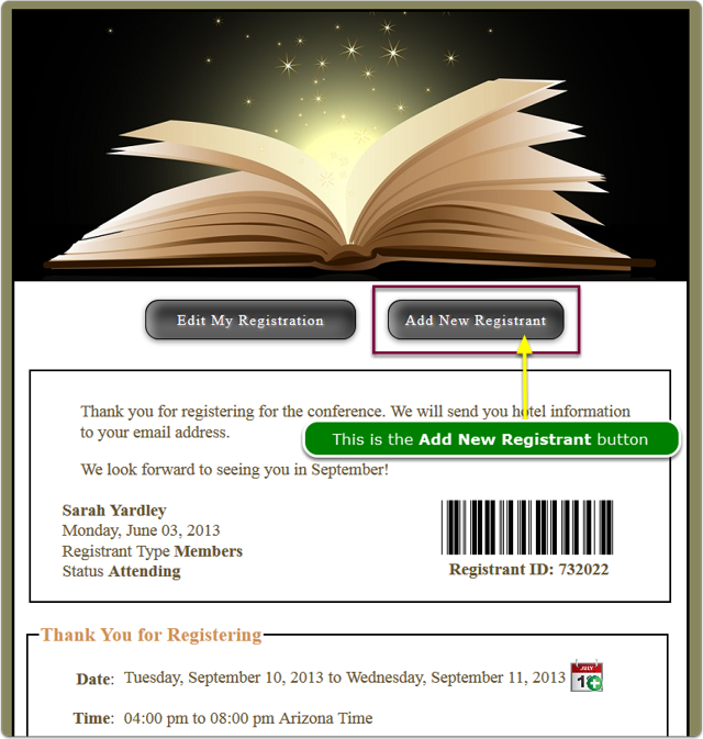 Confirmation Page with the Add New Registrant button displayed