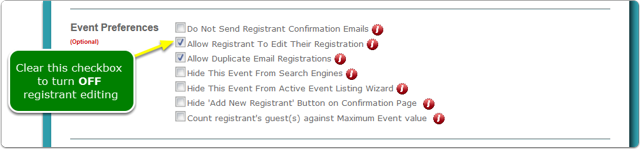 The Event Preferences window opens ...