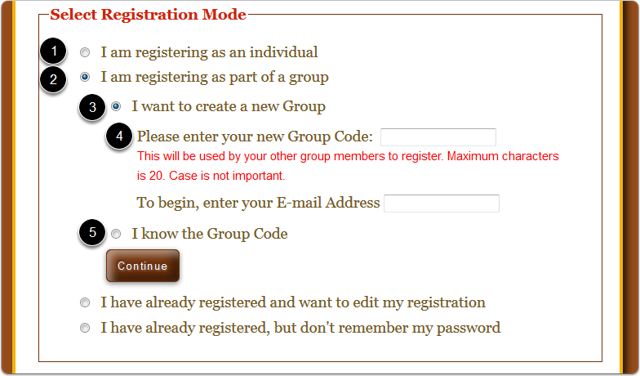 How does the registrant select how they want to register?