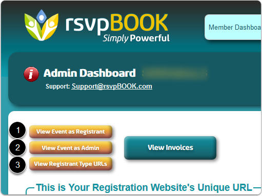 """If Buttons, click either of the """"View Event as ..."""" buttons to open a Registration Page ..."""