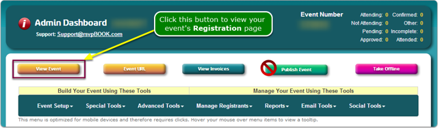 If Menus, click the View Event button to open a Registration Page ...