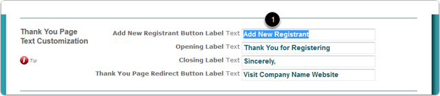 Scroll down to the Thank You Page Text Customization section ...