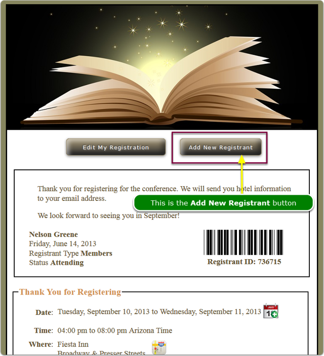 This is the Confirmation Page with the Add New Registrant button displayed