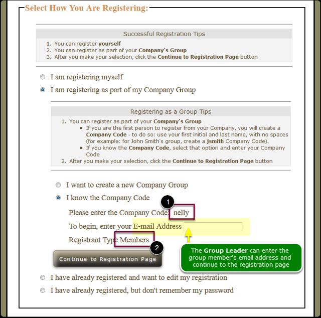 Group Leader's Landing page for group member registration
