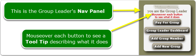 What does the Group Leader's Nav Panel look like?