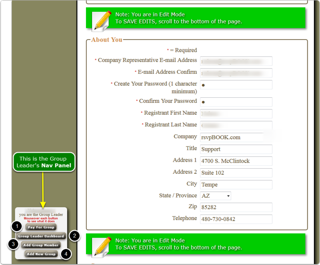 1.  This is the Group Leader's Registration page when in Edit mode