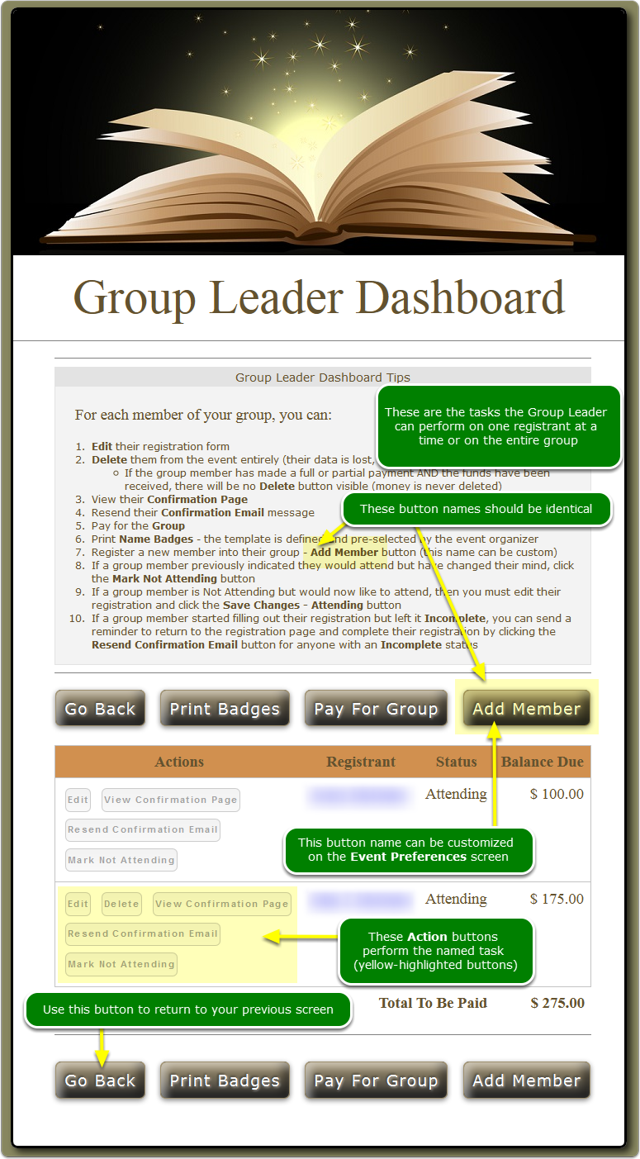 The Group Leader Dashboard opens ...