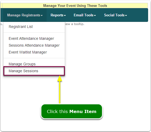 If Menus, your Manage Sessions tool is located here ...