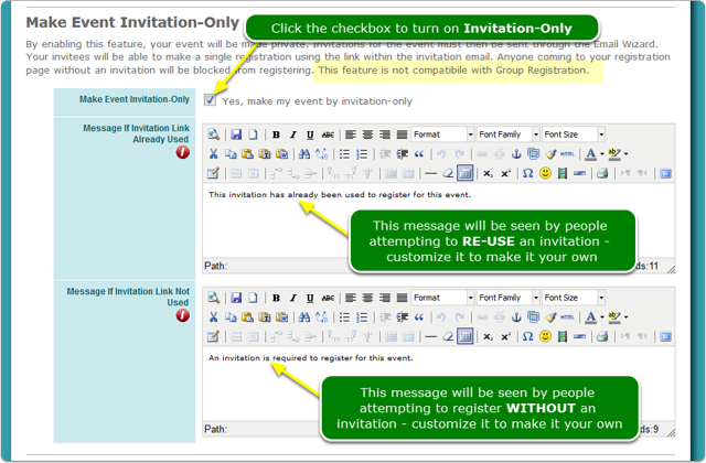 Turn on the Invitation-Only checkbox
