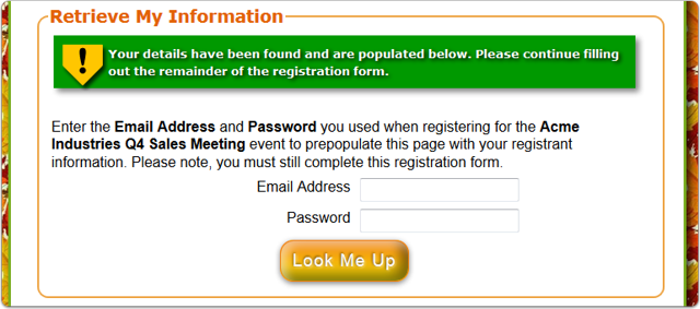 What does the Username & Password SUCCESS look like on the registration page?