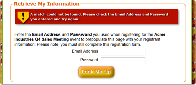 What does the Username & Password FAILURE look like on the registration page?