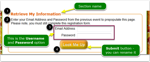 What does the Username & Password PROMPT look like on the registration page?