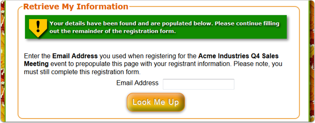What does the Automatic SUCCESS look like on the registration page?