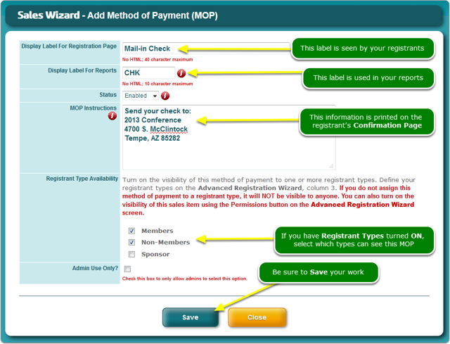 The Add Method of Payment window opens ...