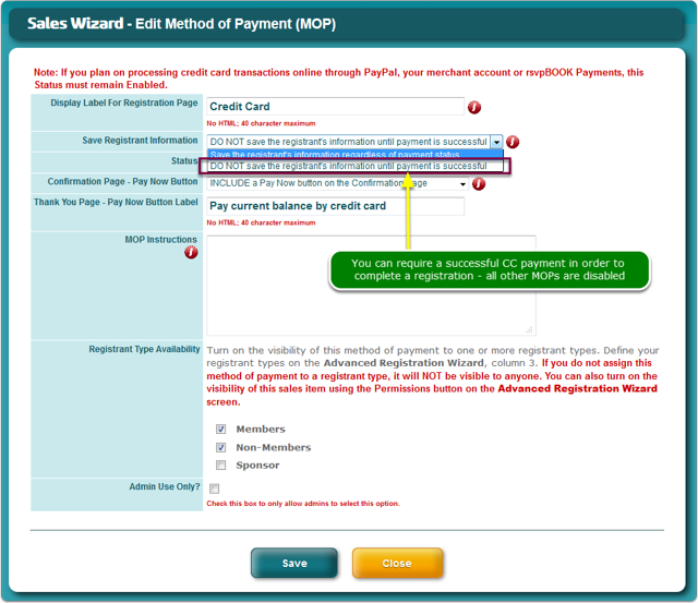 Do you require a successful payment in order to register?