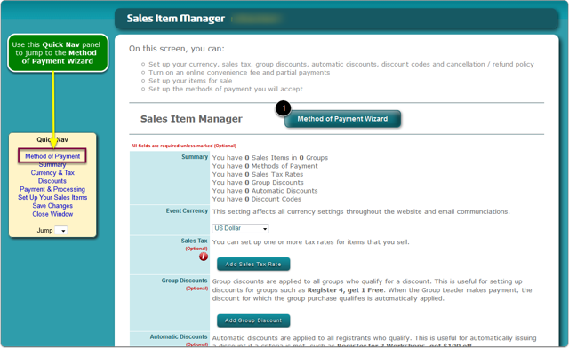 The Sales Wizard opens ...