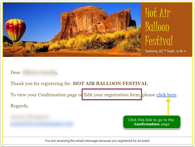 Link in confirmation email message