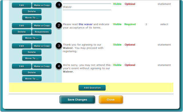 Click the Add Question button to create the Waiver question set
