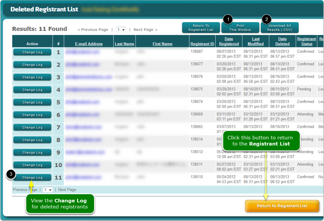 The Deleted Registrant List screen opens ...