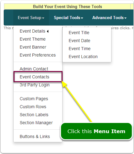 If Menus, your Event Contacts tool is located here ...
