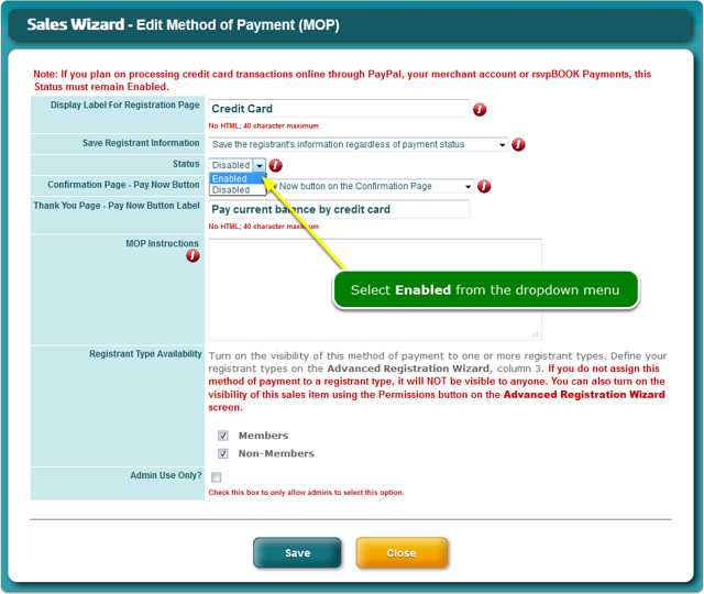 ... to enable the credit card method of payment ...