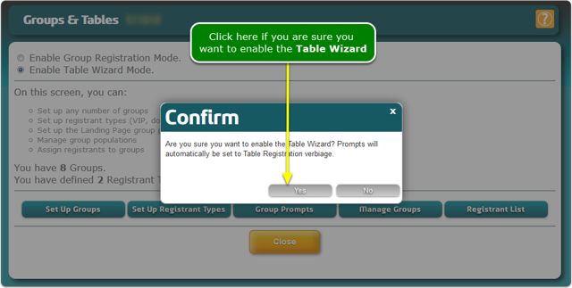 The Table Wizard asks you to confirm ...