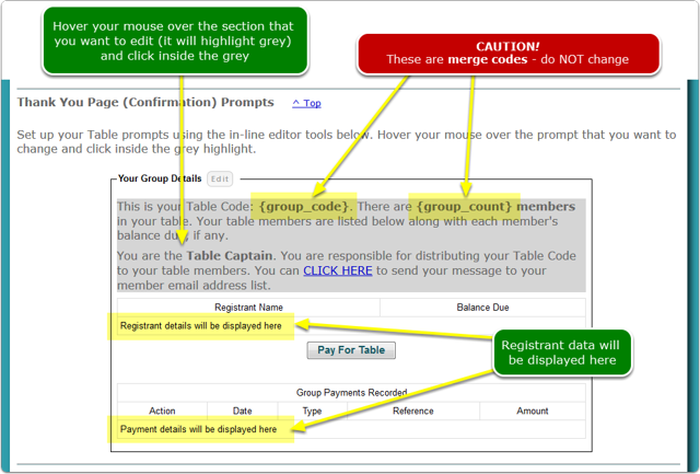 3. Set up your Confirmation Page Prompts