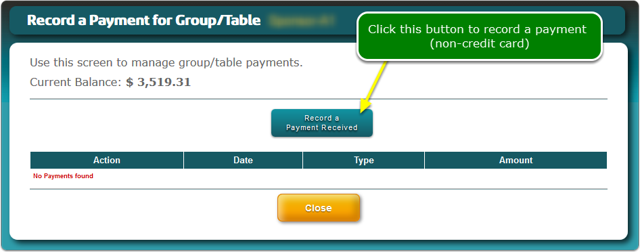 The Record a Payment screen opens ...