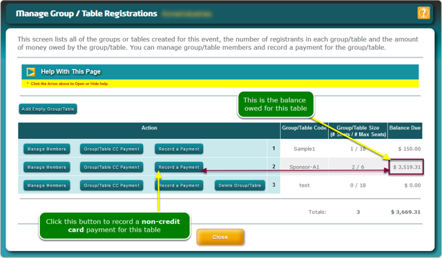 The Manage Table Registrations window opens ...