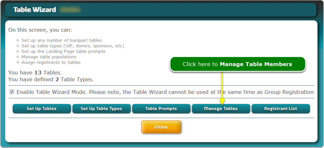 The Table Wizard window opens ...