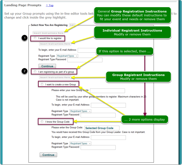 1. Set up your Landing Page Prompts and Registrant Instructions