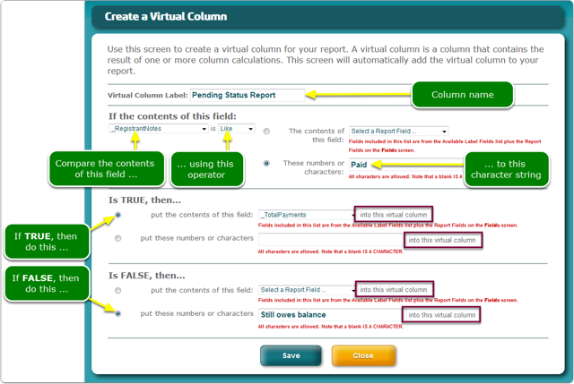 NEW: Conditional Virtual Columns for the Advanced Report Wizard