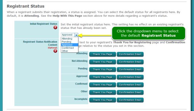 How do I change the default status?