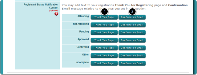 How do I change the Confirmation Page (Thank You page) and the Confirmation Email Message for each registrant status?