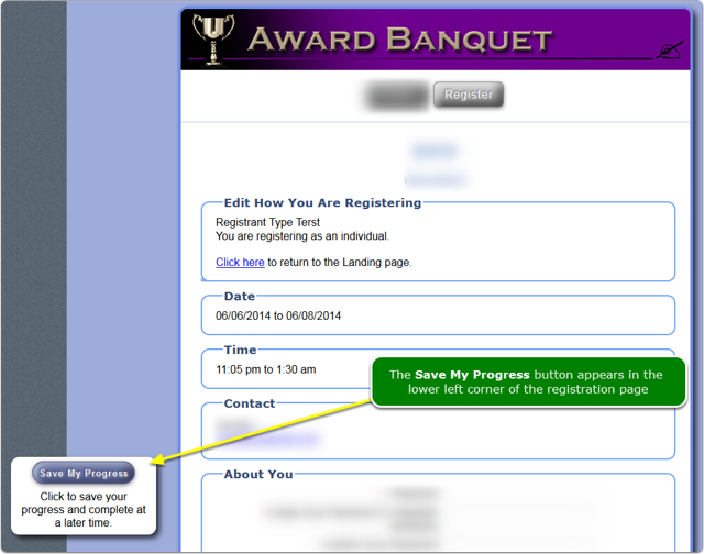 What does the registration page look like when Partial Registration is turned on?