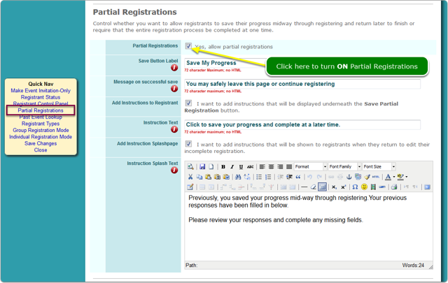 How do I turn ON Partial Registrations?