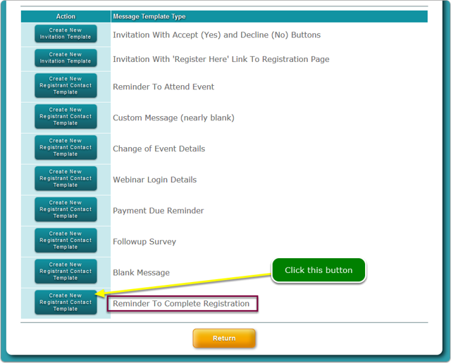 Click the Reminder to Complete Registration email template ...