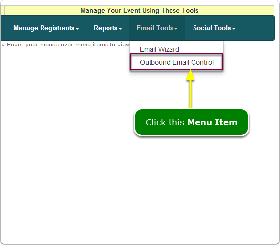 If Menus, your Outbound Email Control tool is located here ...