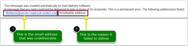 What does an erroneous-email-address bounced email message look like?