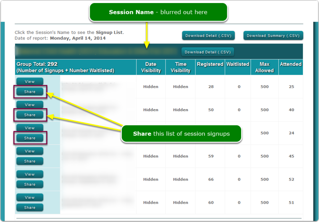 NEW: Share button on the Session Reports screen.