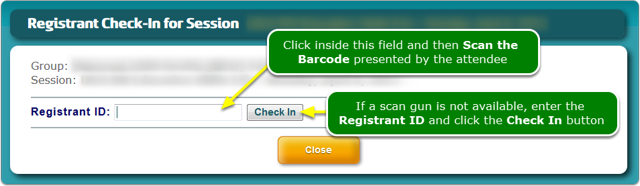 NEW: Scan a barcode to check attendees into a session.