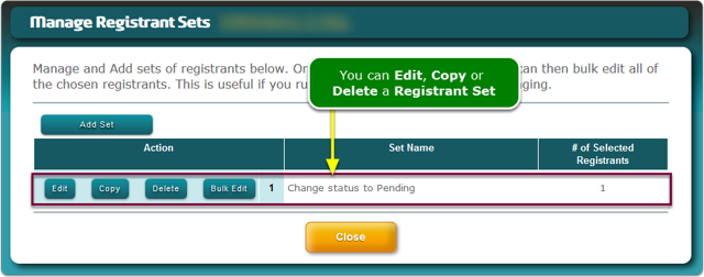 The Registrant Set manager screen refreshes ...