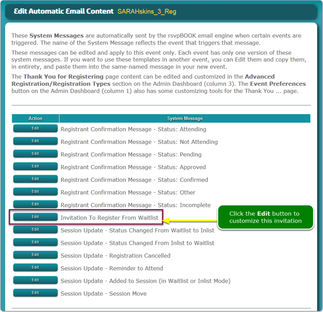 Click the waitlist invitation's Edit button to customize the content.