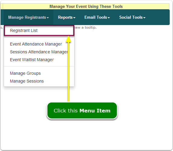 If Menus, your Registrant List tool is located here ...