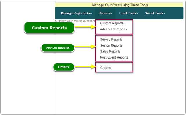 If Menus, your Reports tools are located here ...