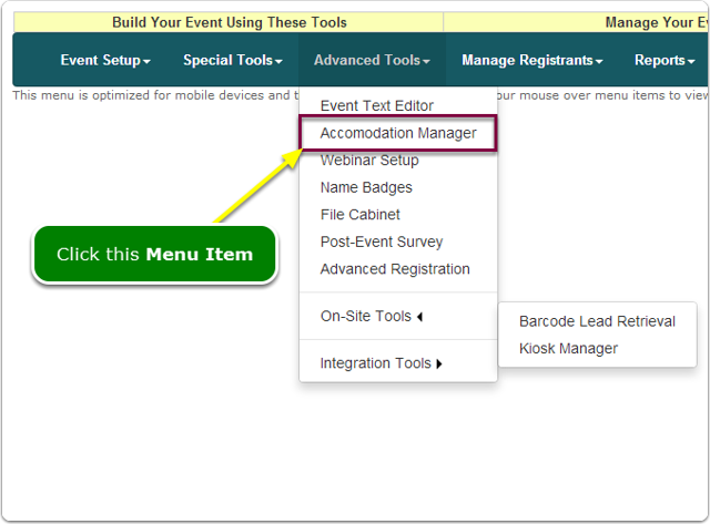 If Menus, your Accommodations Manager tool is located here ...