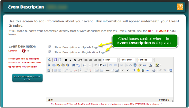 Event Description - Select where it is displayed: on the Landing page, on the Registration page or on both pages