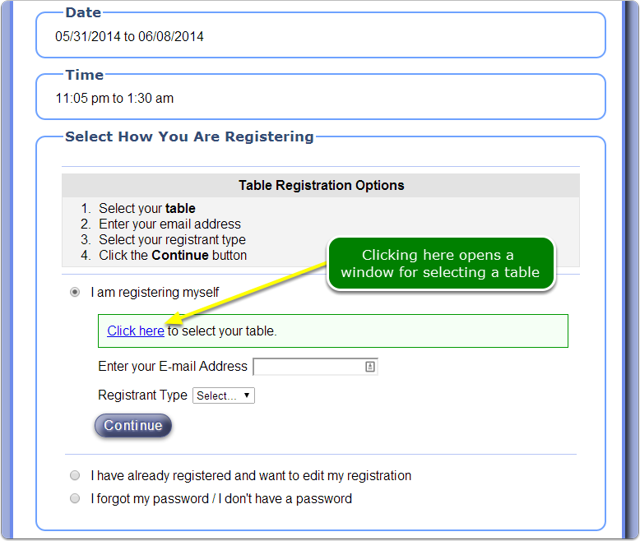 New table selection option for registrants - they can seat themselves.