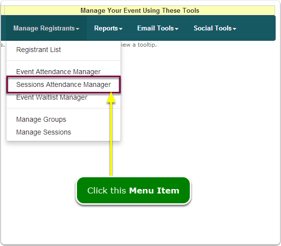 If Menus, your Session Attendance Manager tool is located here ...
